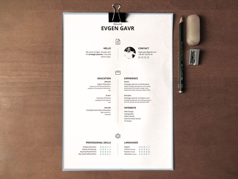 free simple cv resume template with clean design in illustrator ai