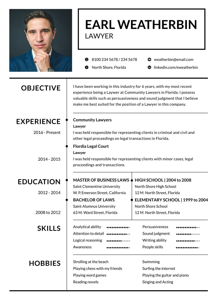 Free Basic Lawyer Resume CV Template In Photoshop PSD Illustrator