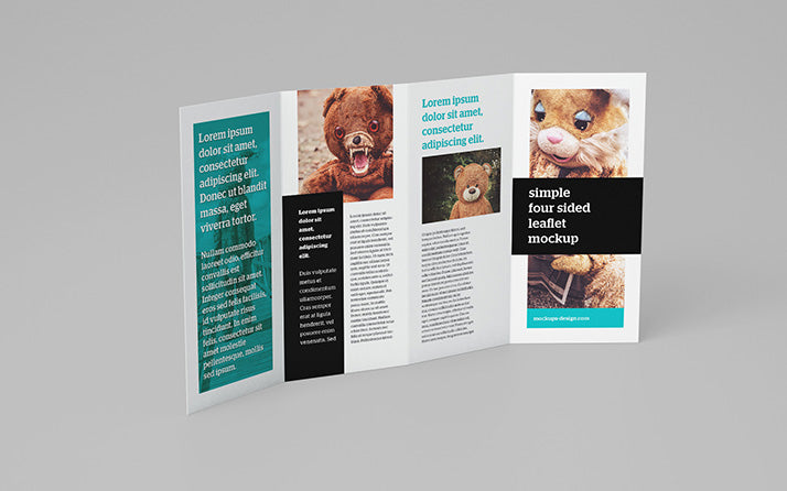 free 4 panel leaflet brochure mockup 5 angles or views creativebooster