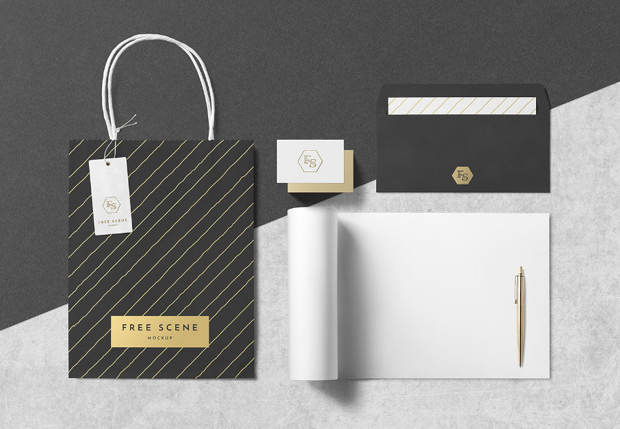 free psd stationery scene mockup with paper bag and pen