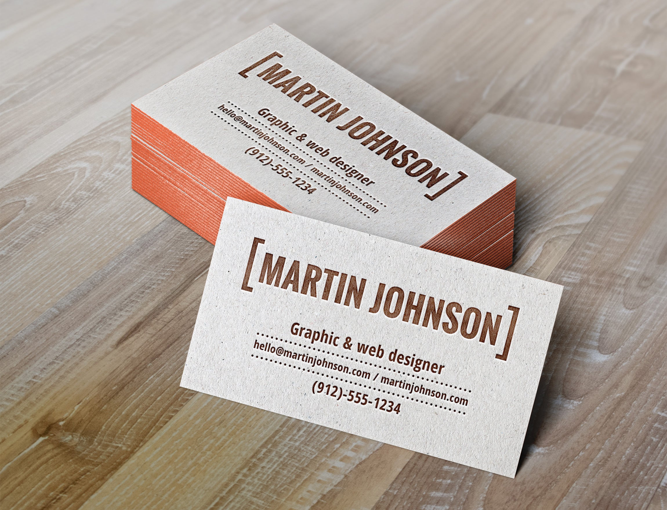 Free Authentic Letterpress Business Cards MockUp - CreativeBooster
