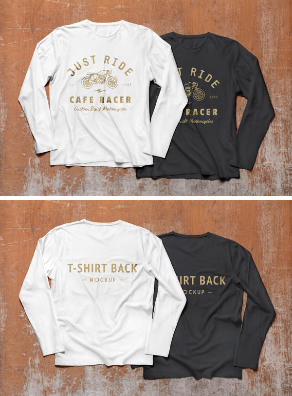 free long sleeve t shirt mockup psd