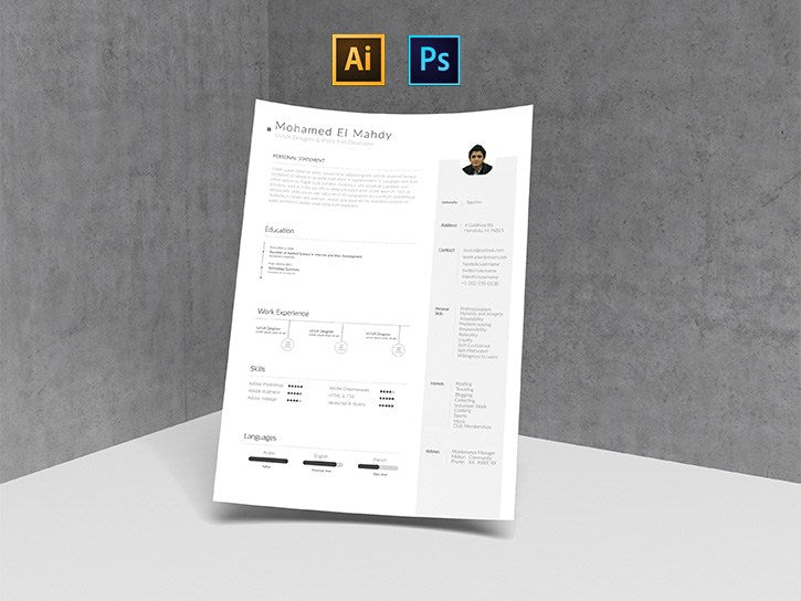 free clean and simple photo resume cv template in photoshop psd and illustrator ai formats