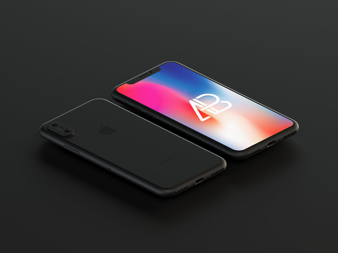 Free Matte Black iPhone X Mockup
