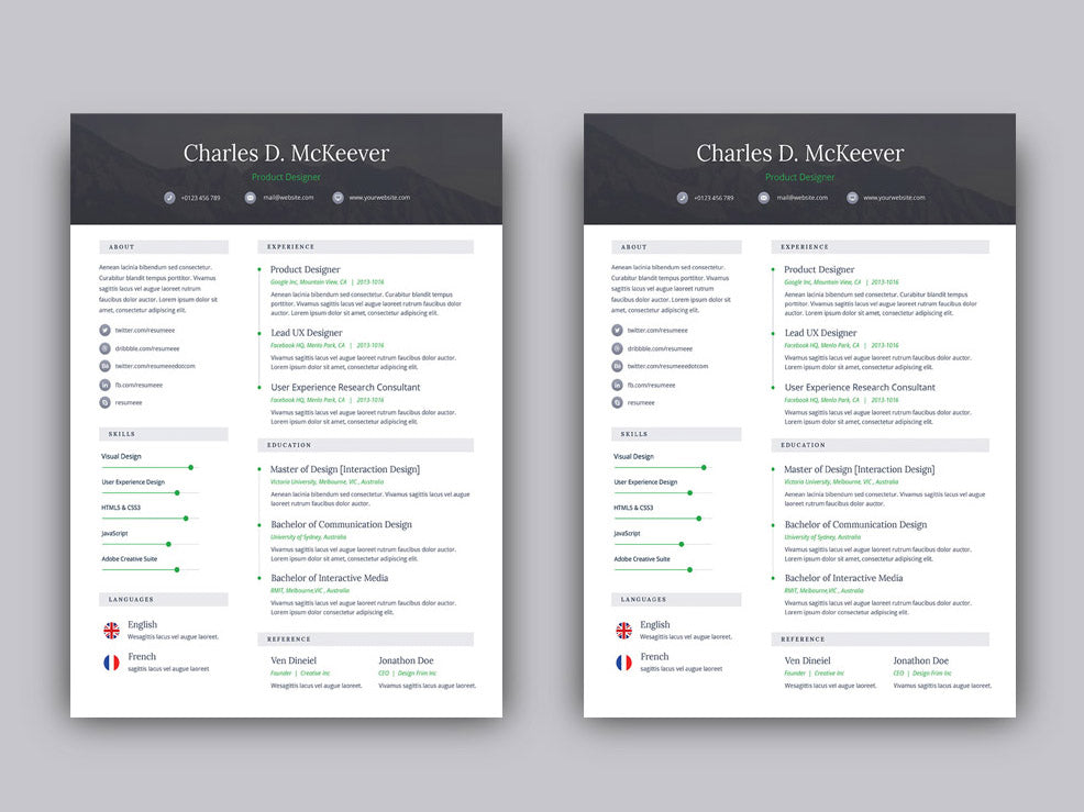 free one page resume cv template for job seeker in photoshop  psd  for