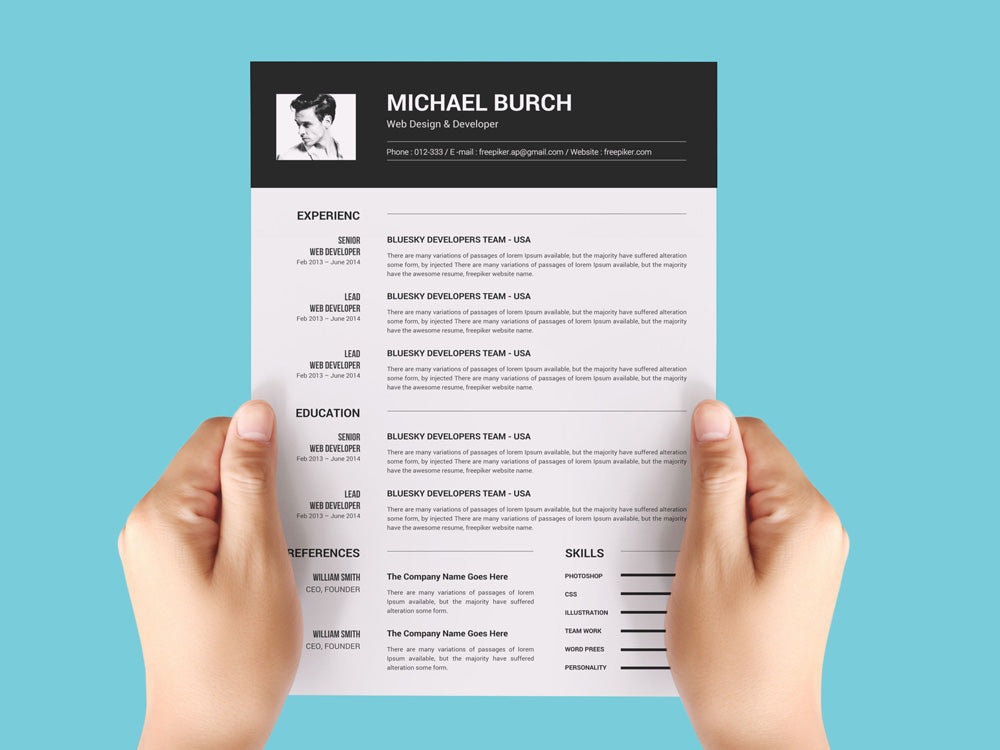 Free Black And White Photo Cv Resume Template In Microsoft