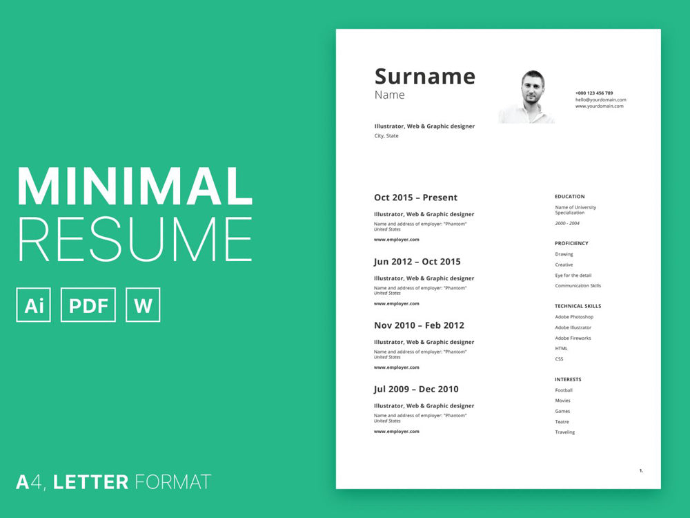 Free Minimal Curriculum Vitae Resume Template In Photoshop PSD Illustrator AI