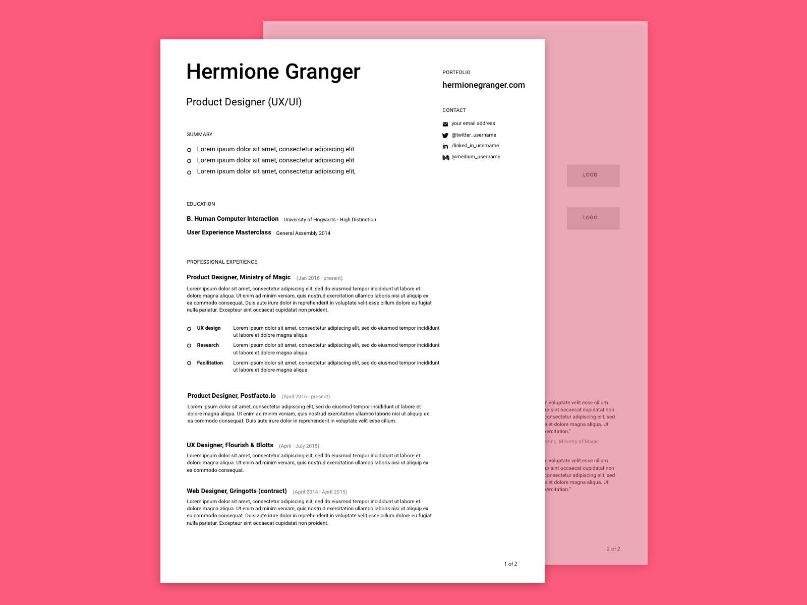 Free Minimalist Design Resume Cv Template In Sketch Format
