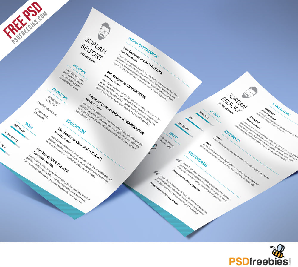 Free Clean Resume Psd Template: Free Minimal And Clean CV Resume Template In Photoshop