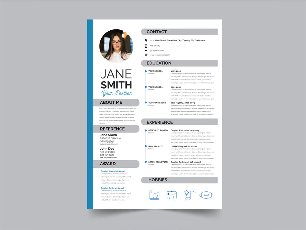 free modern resume cv template with flat style design in illustrator