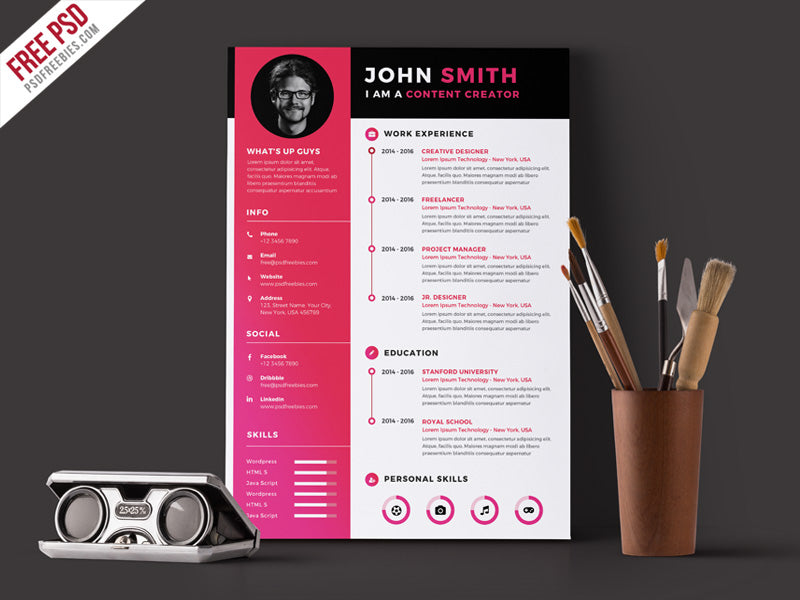 Free Modern Simple CV Resume Template In Photoshop PSD Format