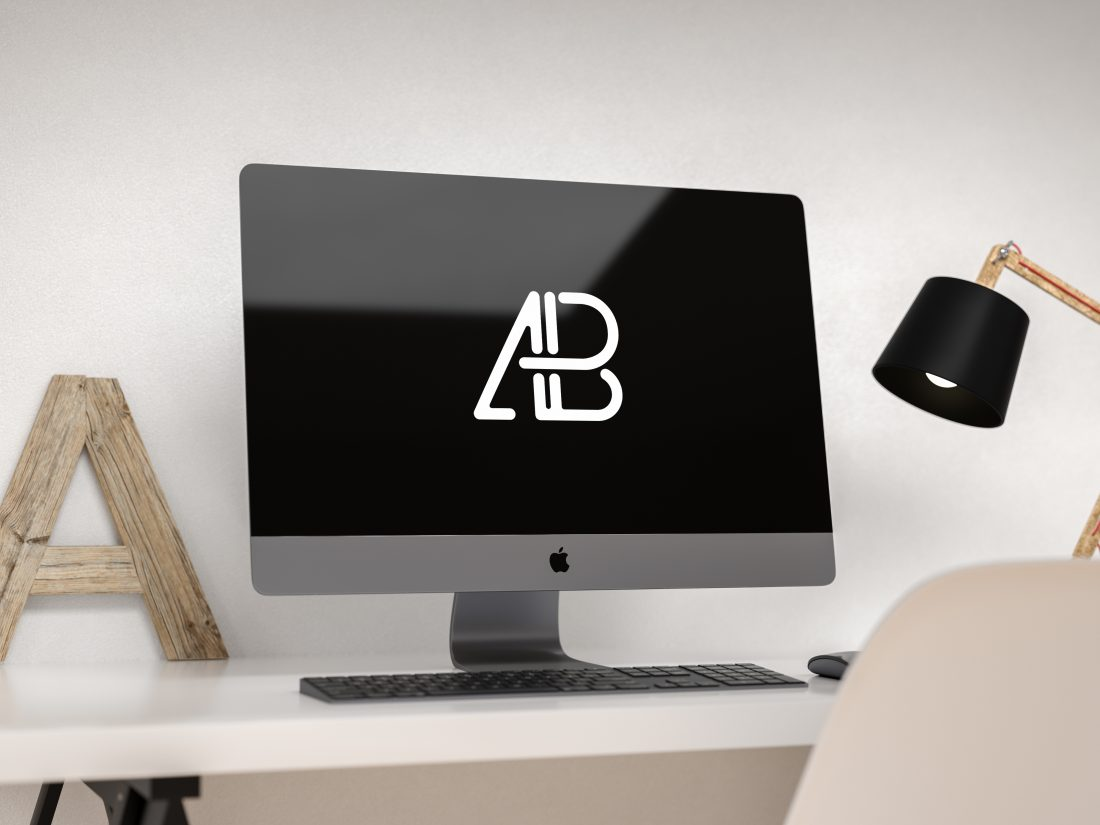 High Quality Free Modern IMac Pro Mockup In A Home Office