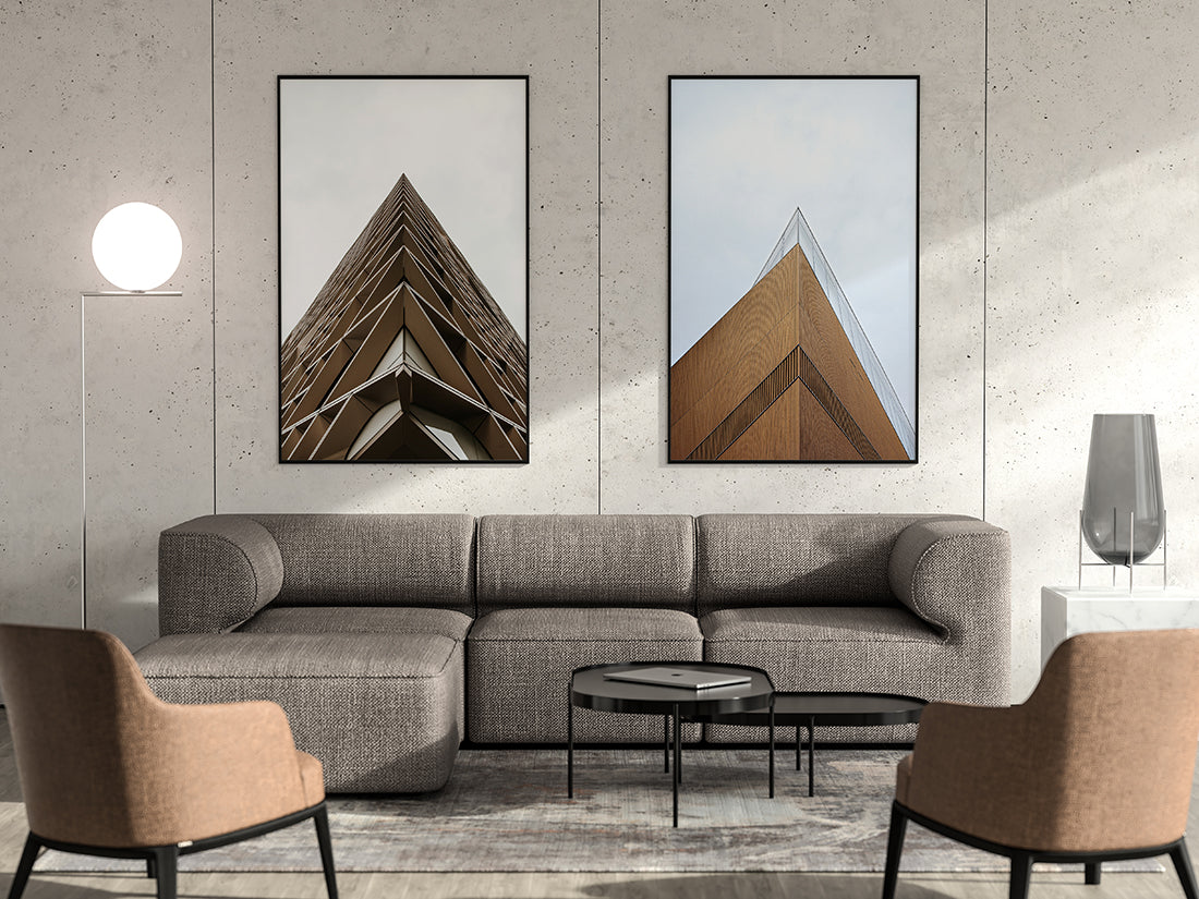living room with a free modern poster mockup psd