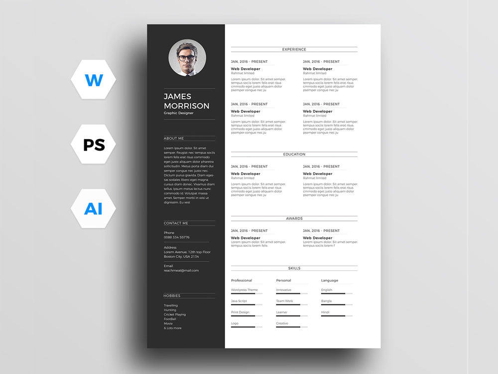 Free Minimal Photo Job Resume CV Template In Photoshop PSD Illustrator AI And Microsoft Word DOC Formats