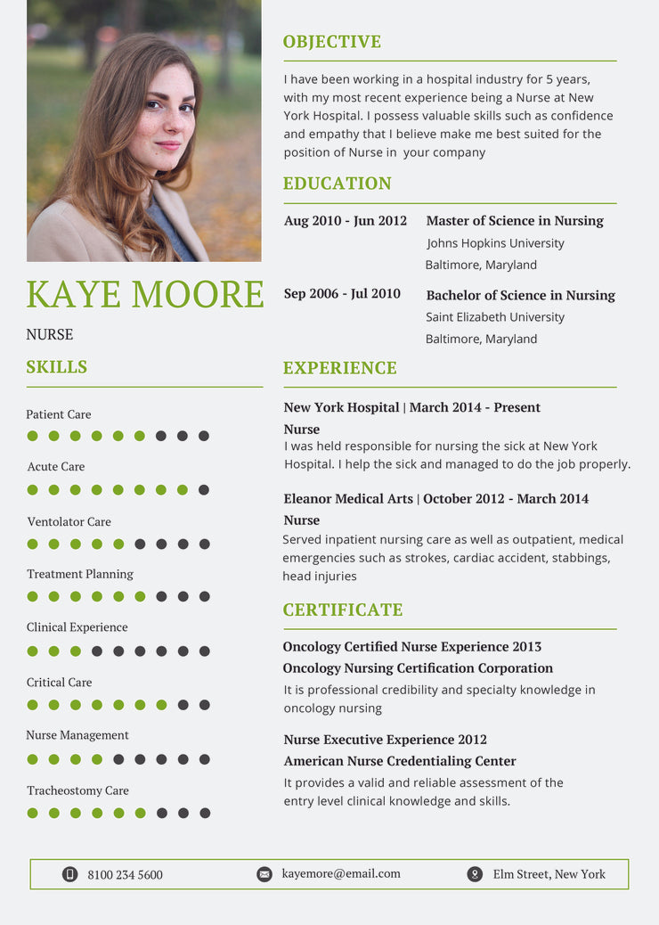 Free Nursing Resume CV Template In Photoshop PSD Illustrator AI