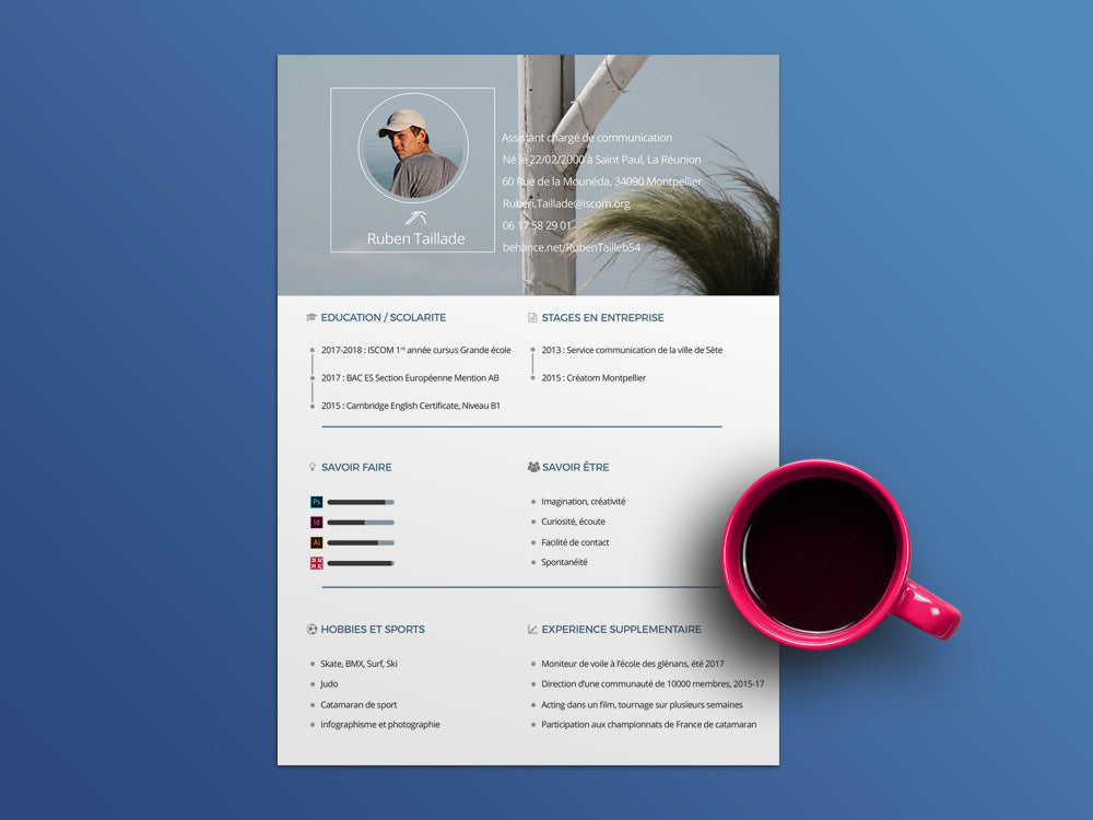 Free Personal CV Template in Photoshop (PSD) Format - CreativeBooster