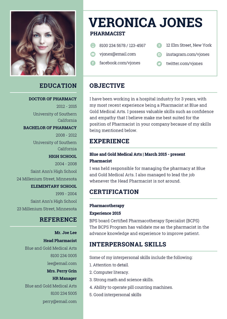free basic pharmacist resume cv template in photoshop  psd