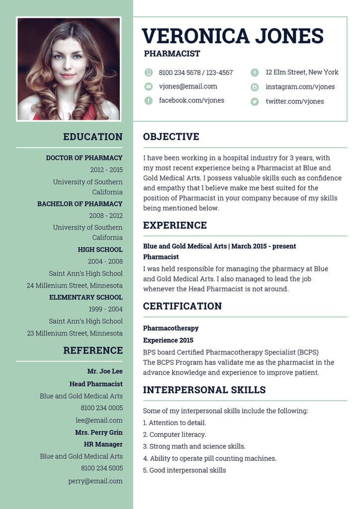 free basic pharmacist resume cv template in photoshop psd illustrator ai