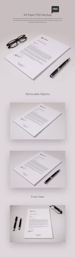 free isometric stationery a4 paper psd mockup