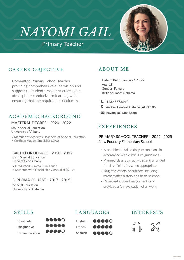 Free Primary Teacher Resume CV Template In Photoshop PSD And Microso