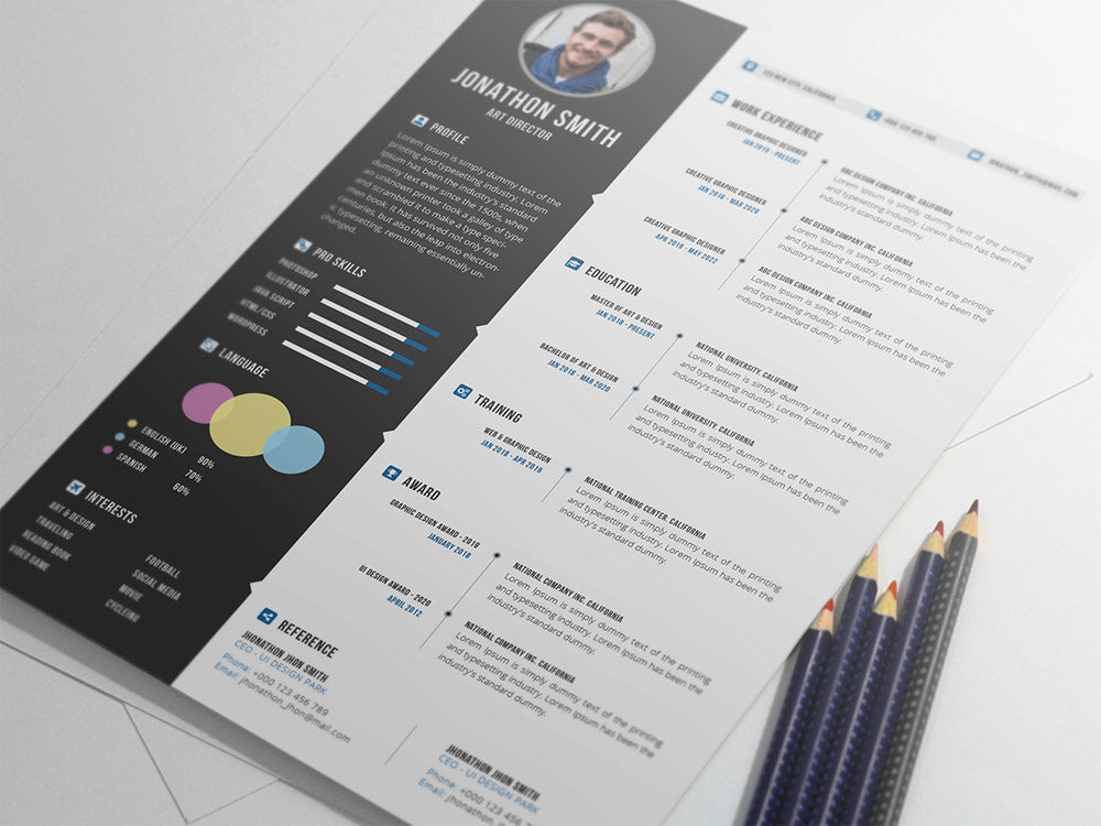 Free Professional Photo Resume CV Template In Photoshop PSD Format