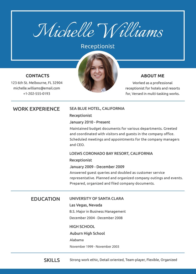 Free Basic Receptionist Resume CV Template in Photoshop (PSD ...