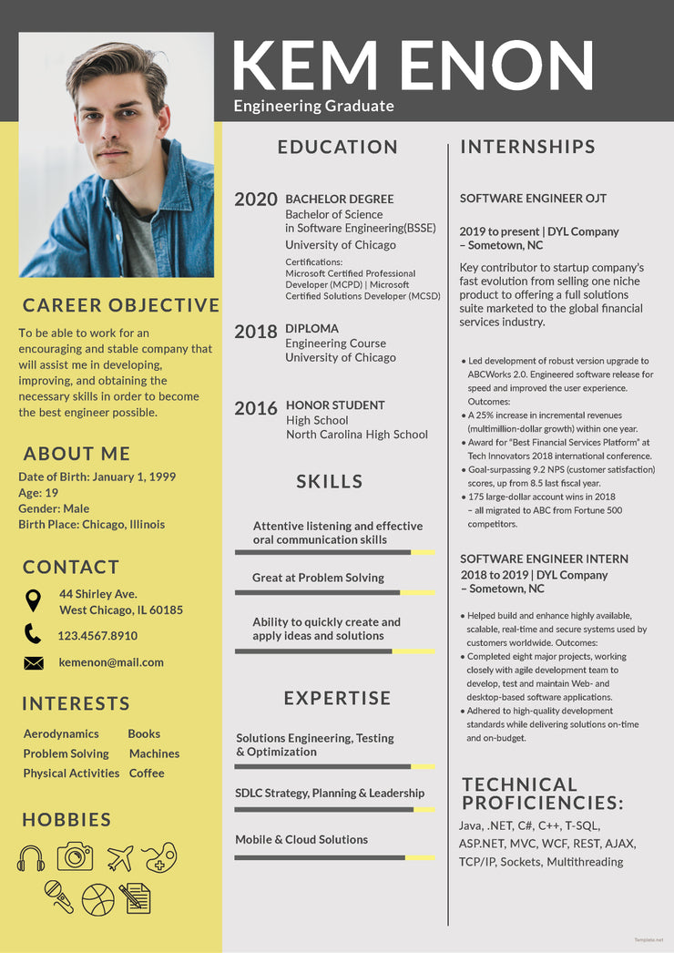 free engineering freshers resume cv template in photoshop