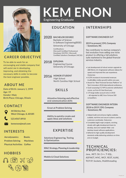 Free Engineering Freshers Resume Cv Template In Photoshop Psd