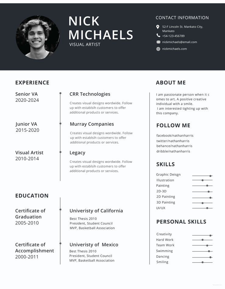 free visual artist photo resume cv template in photoshop