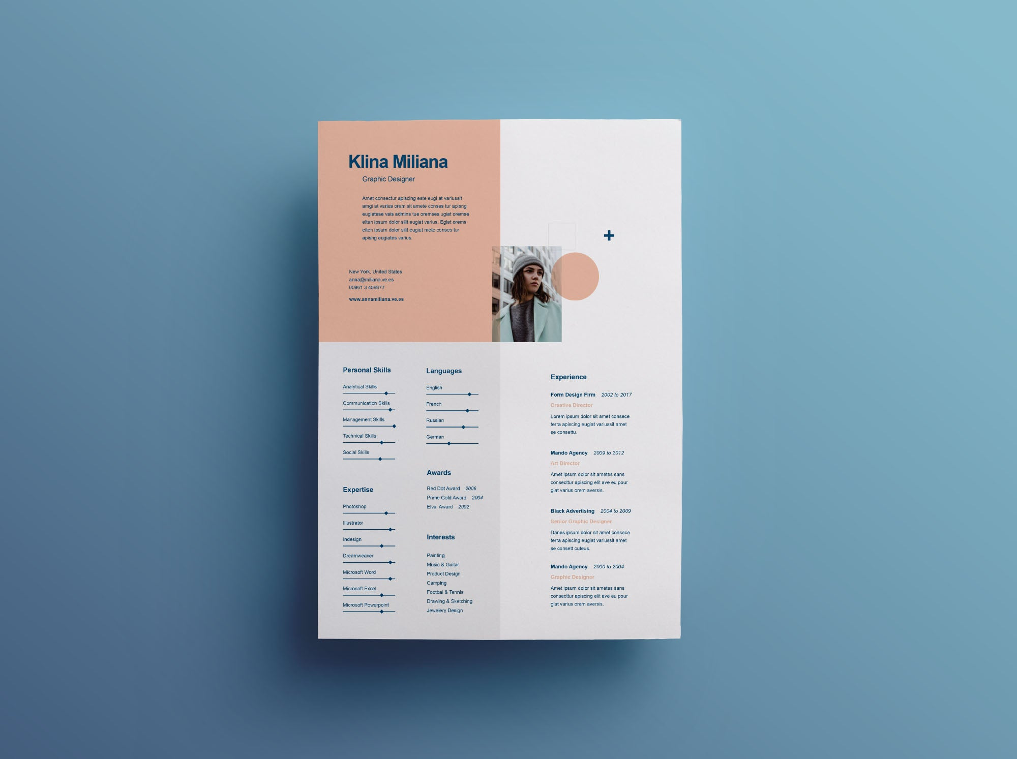 free split style resume and cv template in illustrator  ai