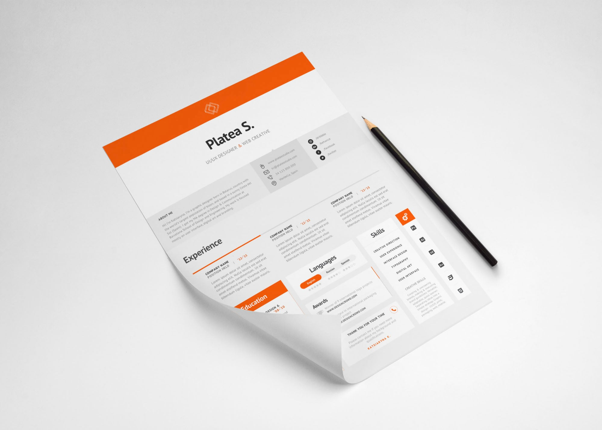 Free A4 And Us Letter Resume Template In Photoshop Psd Format