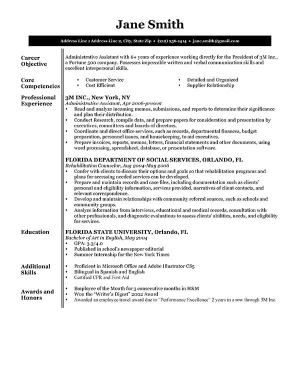 Free Executive Resume Templates In Microsoft Word Format