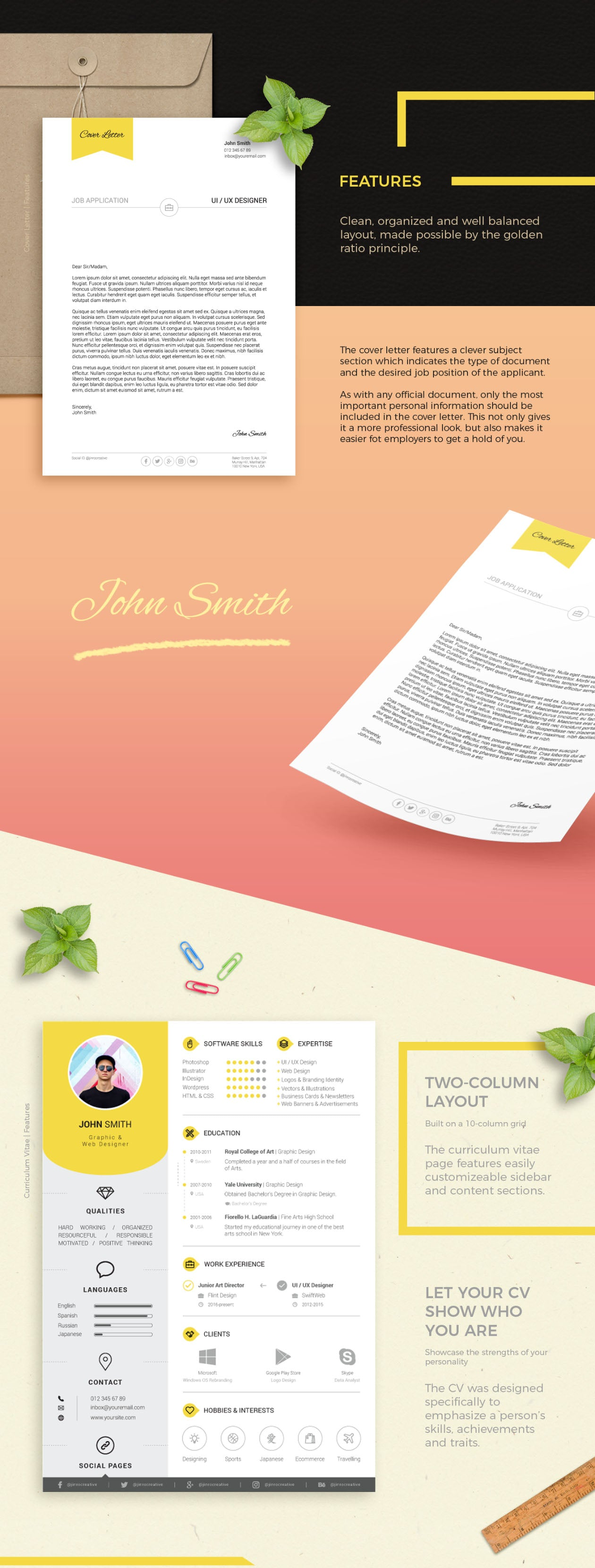 Free Resume and Cover Letter Print Templates in Illustrator ...
