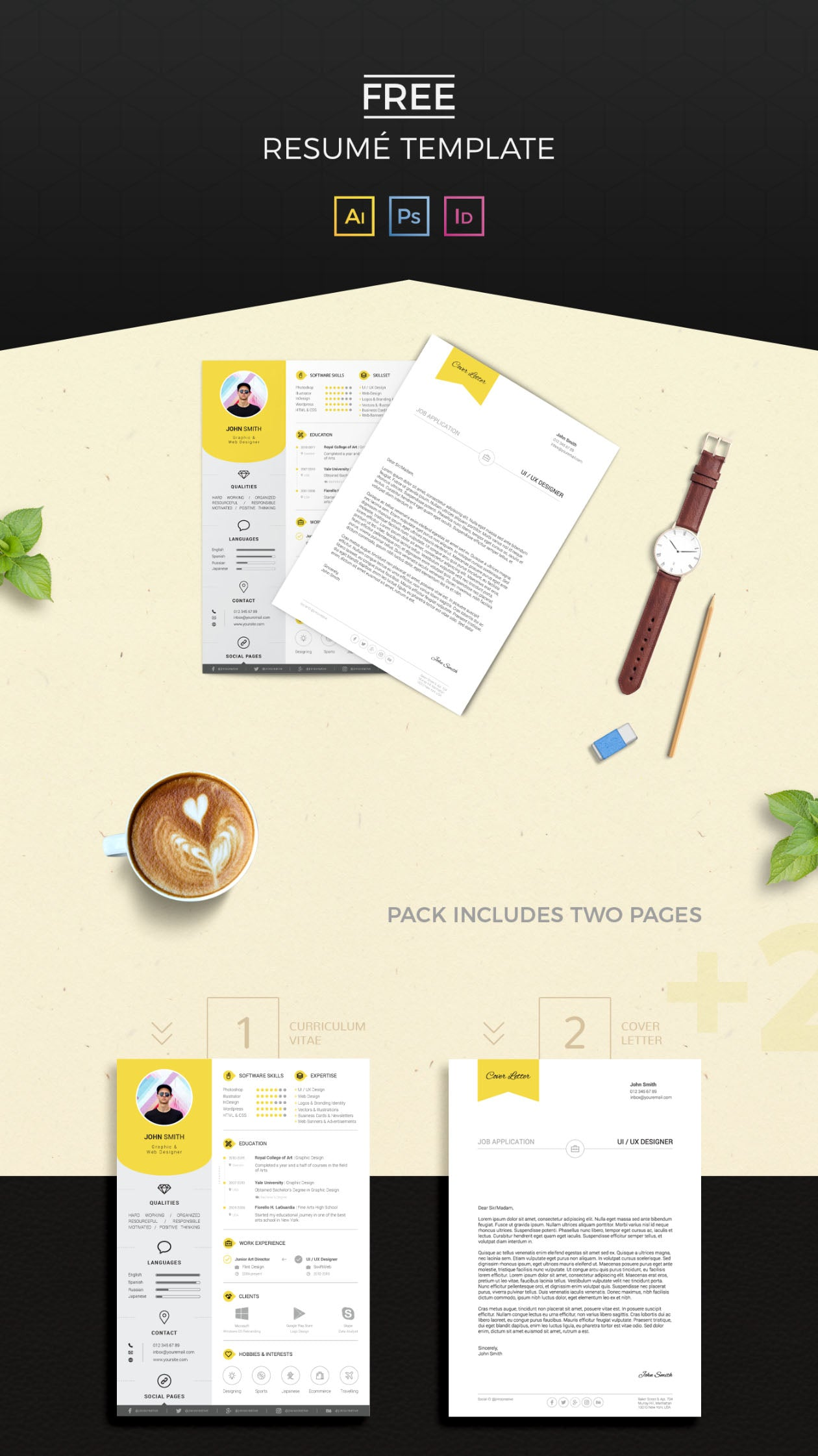 Free Resume And Cover Letter Print Templates In Illustrator Ai