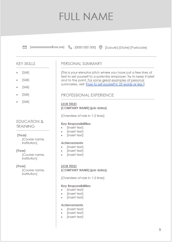 free clean and white resume cv template microsoft word  docx  format