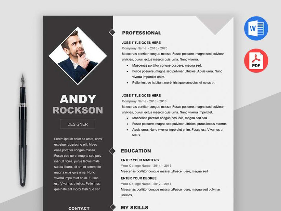 Free Modern Elegant Photo Cv Resume Template In Microsoft Word