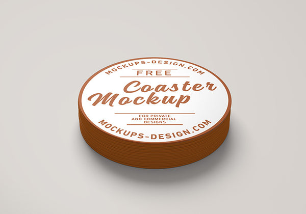 Free Round Coster Business Label Mockup - CreativeBooster