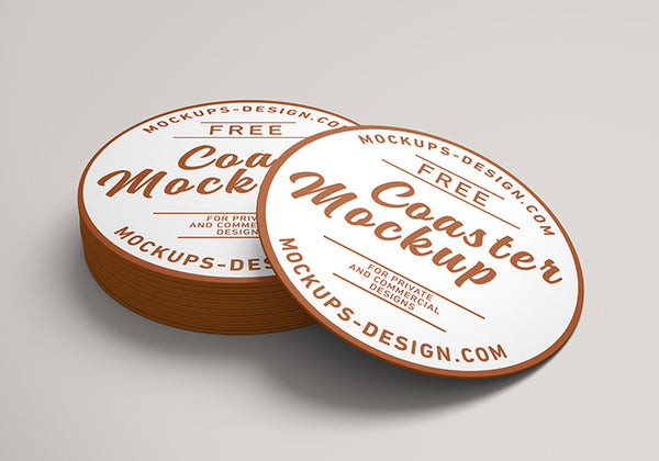 Free Round Coster Business Label Mockup Creativebooster