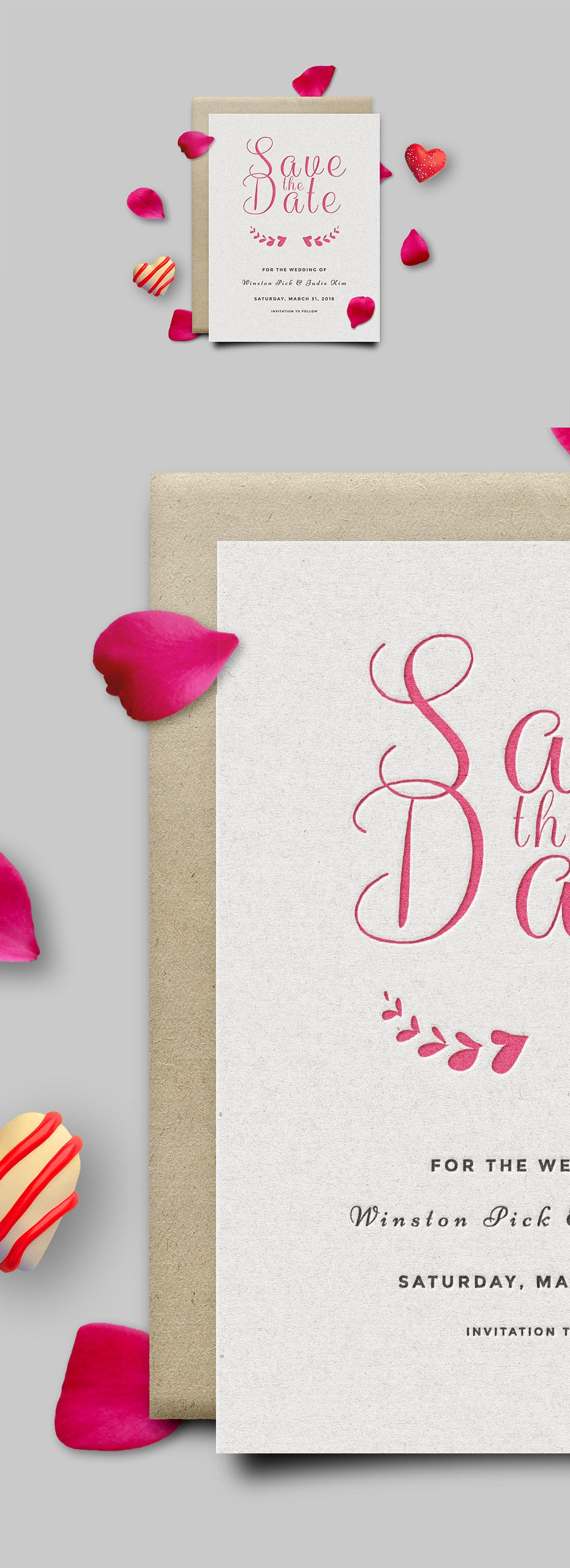 Free Save The Date Or Valentines Day Invitation Card Mockup Psd