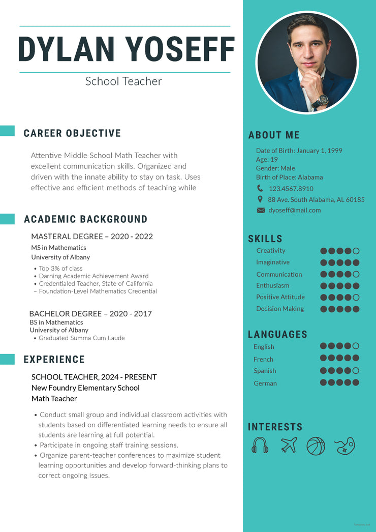 Free School Teacher Resume CV Template in Photoshop (PSD ...