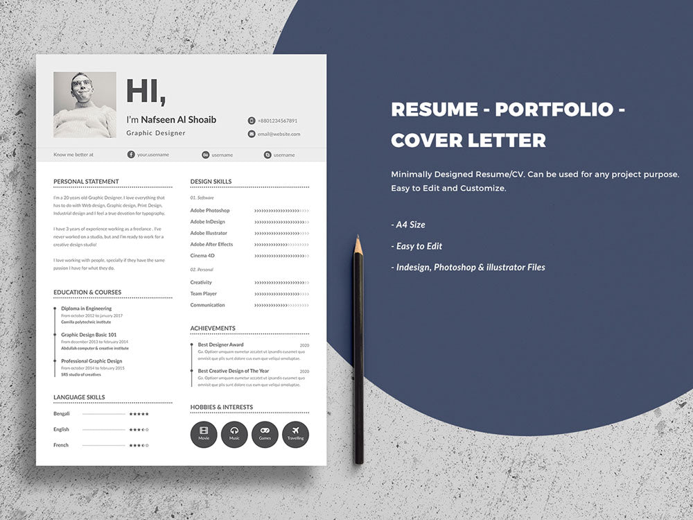 Free Minimal Resume CV Template With Cover Letter In Photoshop PSD And Illustrator AI Formats
