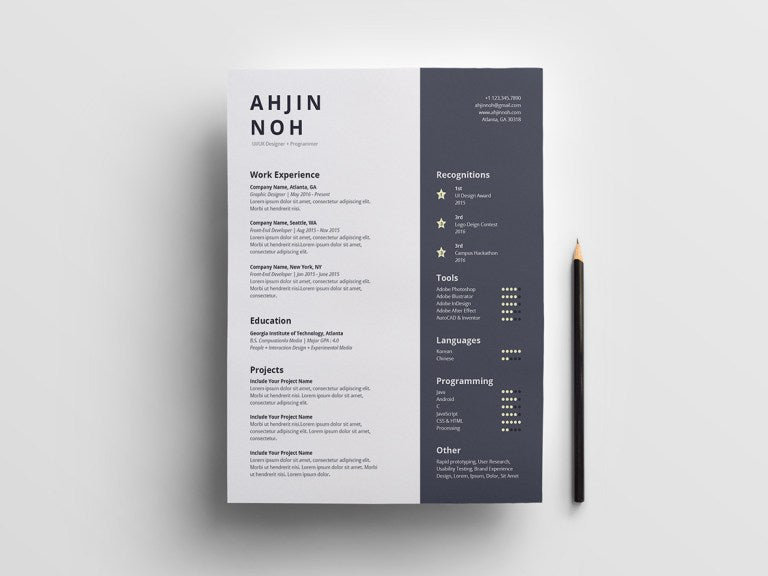 free minimal two column resume cv template in indesign
