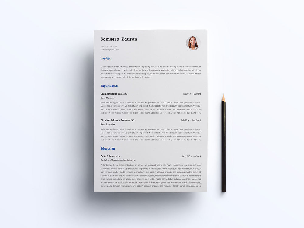 Free Simple Photo CV Resume and Cover
