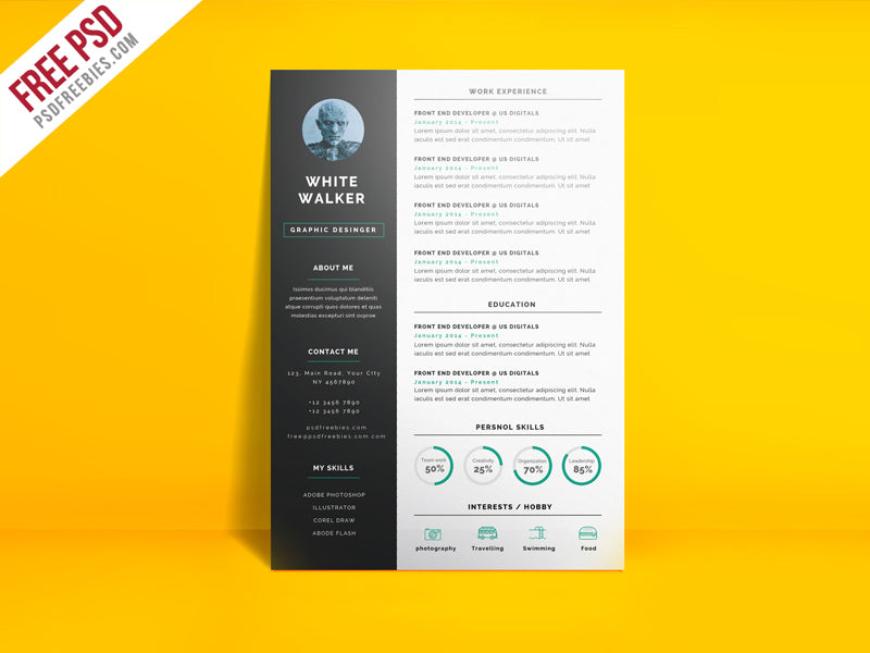 Free Simple And Clean Photo CV Resume Template In Photoshop PSD Format