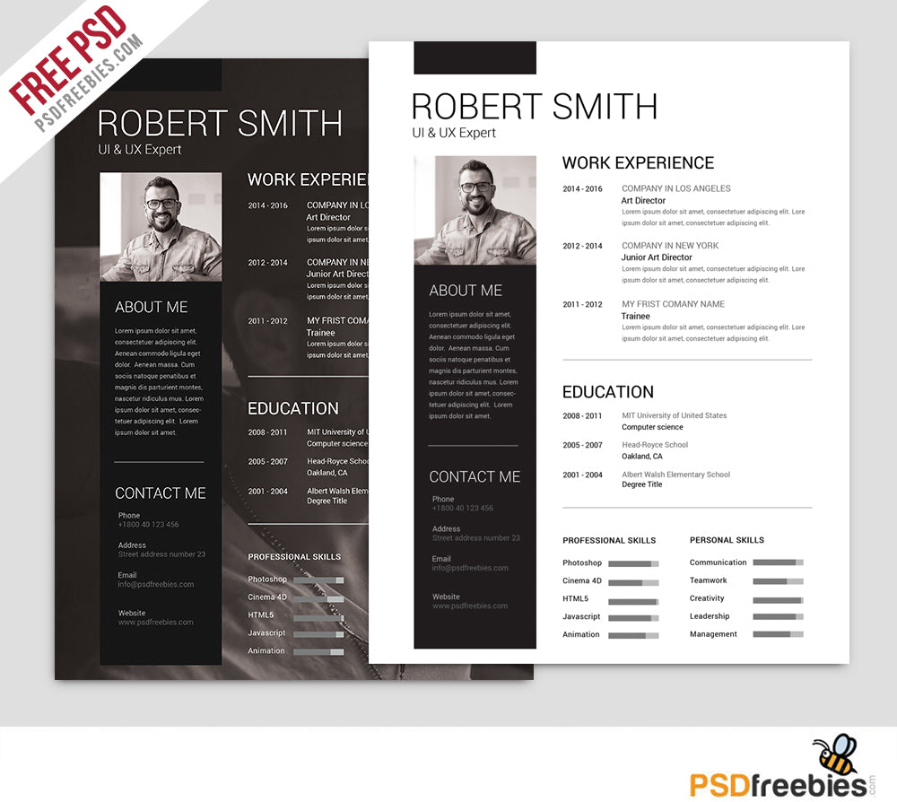 free simple and clean cv resume template in photoshop  psd  format