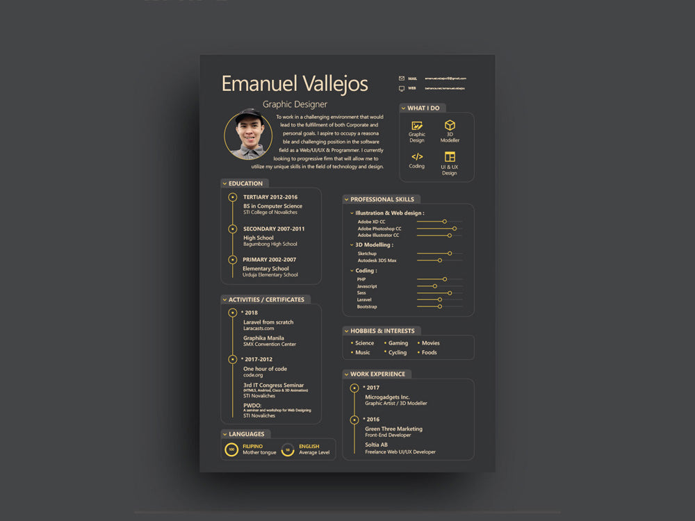 Free Black Resume CV Template with Attractive Design in