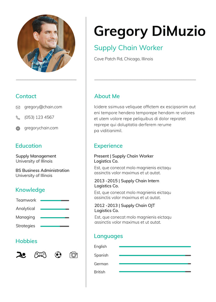 free supply chain worker photo resume cv template in