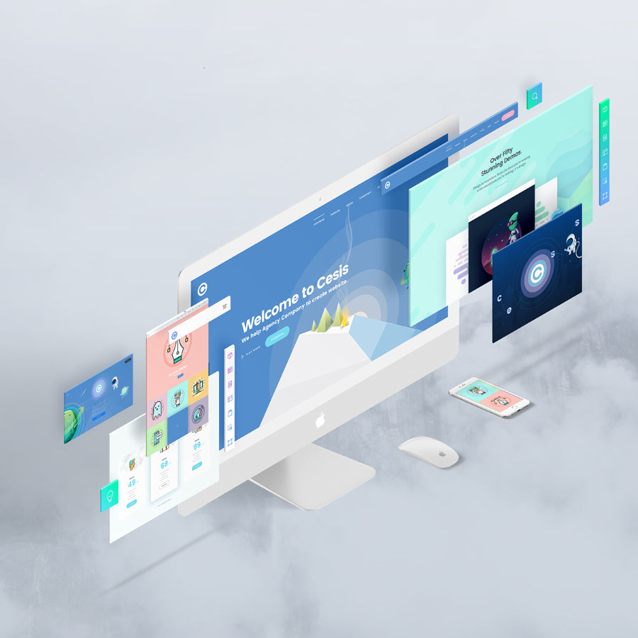 Free The Website Screen Display Designs Perspective PSD