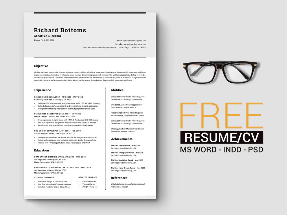 Free Timeless Minimal Resume CV Template With Cover Letter In Photoshop PSD Microsoft