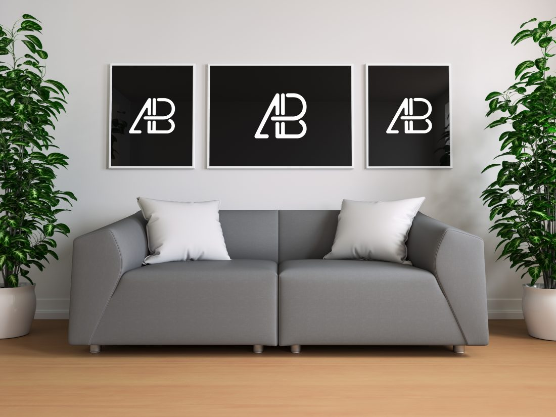 P Free Triple Poster And Frame In Living Room Mockup